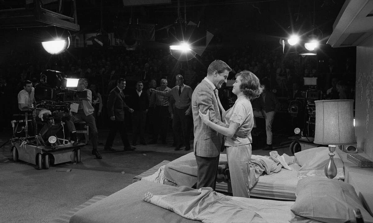 Actor Dick Van Dyke and actress Mary Tyler Moore in rehearsal for The Dick Van Dyke Show on December 2, 1963 in Los Angeles.
