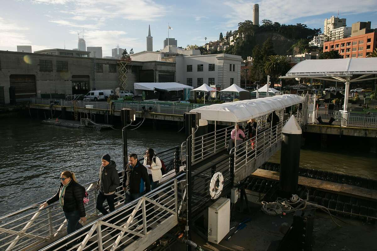 Passengers board the ferry for Alcatraz Island at Pier 311/2 in San Francisco, Calif., Wednesday, January 25, 2017.