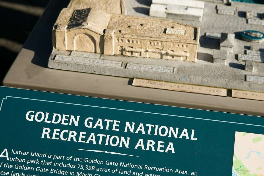 Golden Gate National Recreation Area kiosk with a model of the Piers 31 and 33 in San Francisco. Photo: Mason Trinca, Special To The Chronicle
