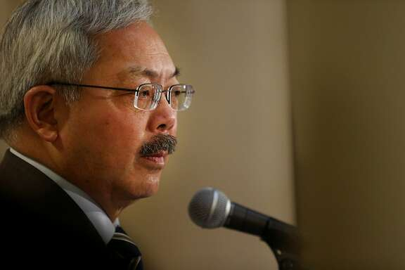 Mayor Ed Lee during a news conference at City Hall on Wednesday, Jan. 25, 2017 in San Francisco, Calif. Lee addressed members of the news media following President Donald Trump's executive order targeting sanctuary cities.