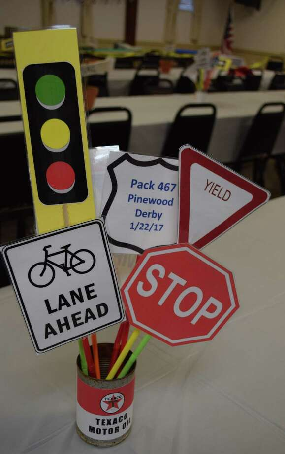 Spectrum/A variety of road signs greeted patrons of Cub Scout Pack 467's annual pinewood derby held Jan. 22, 2017, at the Odd Fellows Hall in New Milford. Photo: Deborah Rose / Hearst Connecticut Media / The News-Times  / Spectrum