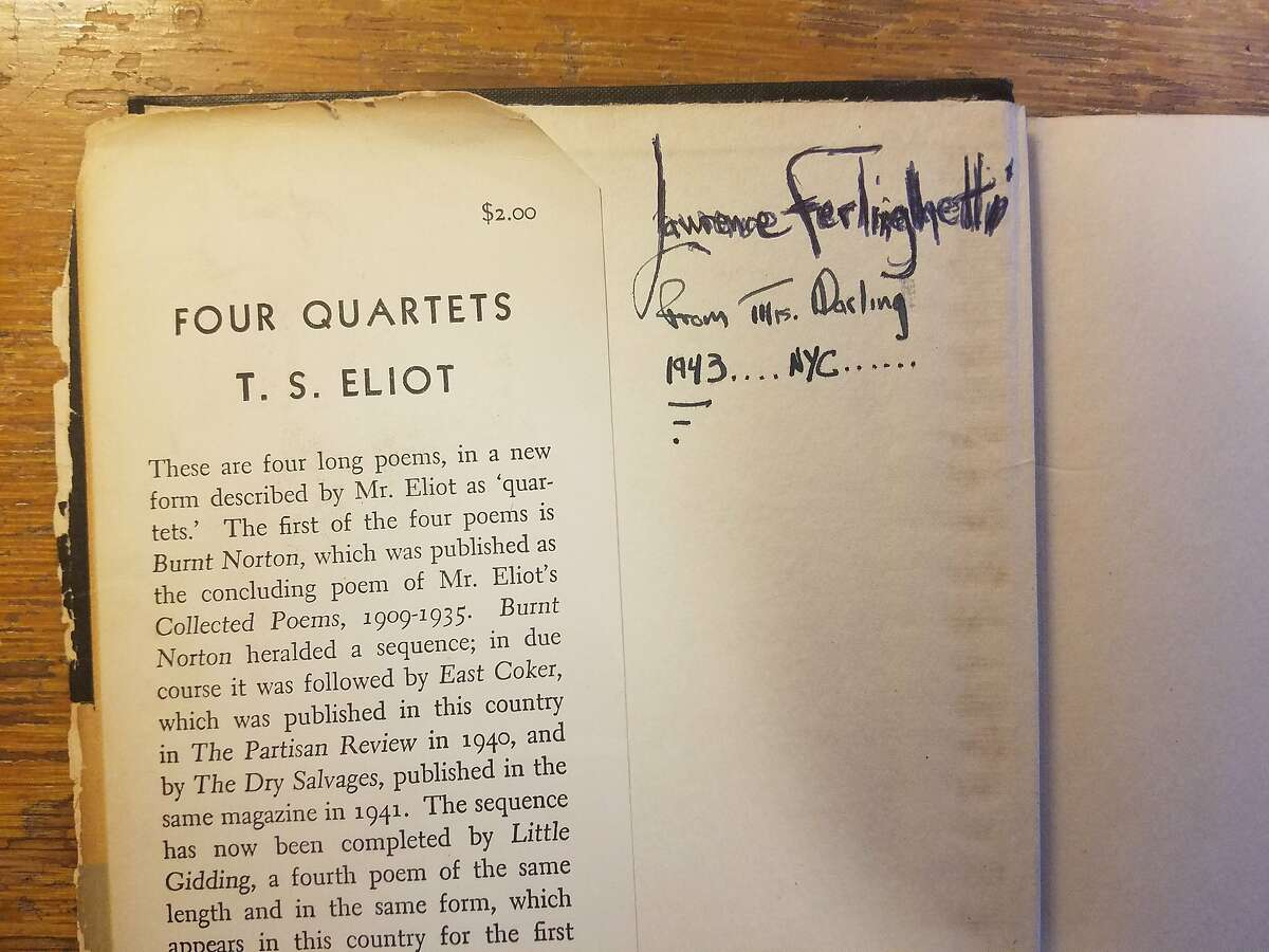 """Lawrence Ferlinghetti's copy of T.S. Eliot's """"Four Quartets,"""" his most treasured book, was given to him by the mother of his girlfriend in Greenwich Village in 1943."""