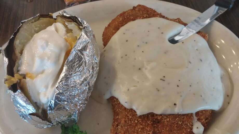 Chicken-fried steak and baked potato at Frank's Restaurant in Schulenburg from a Yelp screen grab.