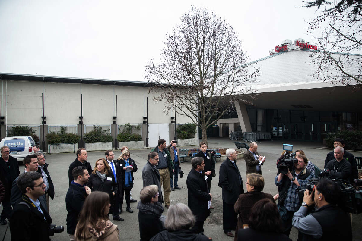 Potential developers and contractors begin a tour KeyArena with city officials and local journalists on Wednesday, Jan. 25, 2017.