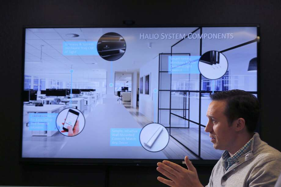 Craig Henricksen, director of product development at Kinestral, talks about Halio, its smart-tinting glass system that delivers shade and glare relief on demand. Photo: Michael Macor, The Chronicle