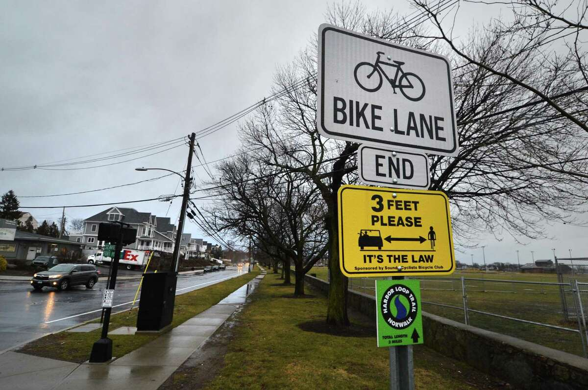 The bike lane ends at the corner of Washington St., Fort Point St. and Seaview Ave. on Tuesday January 24, 2017 in Norwalk Conn. The Norwalk River Valley Trail Steering Committee is looking for approval to paint bike lanes and sharrows along Seaview Avenue and Cove Ave. to East Avenue to complete the NRVT trail link from to Calf Pasture Beach