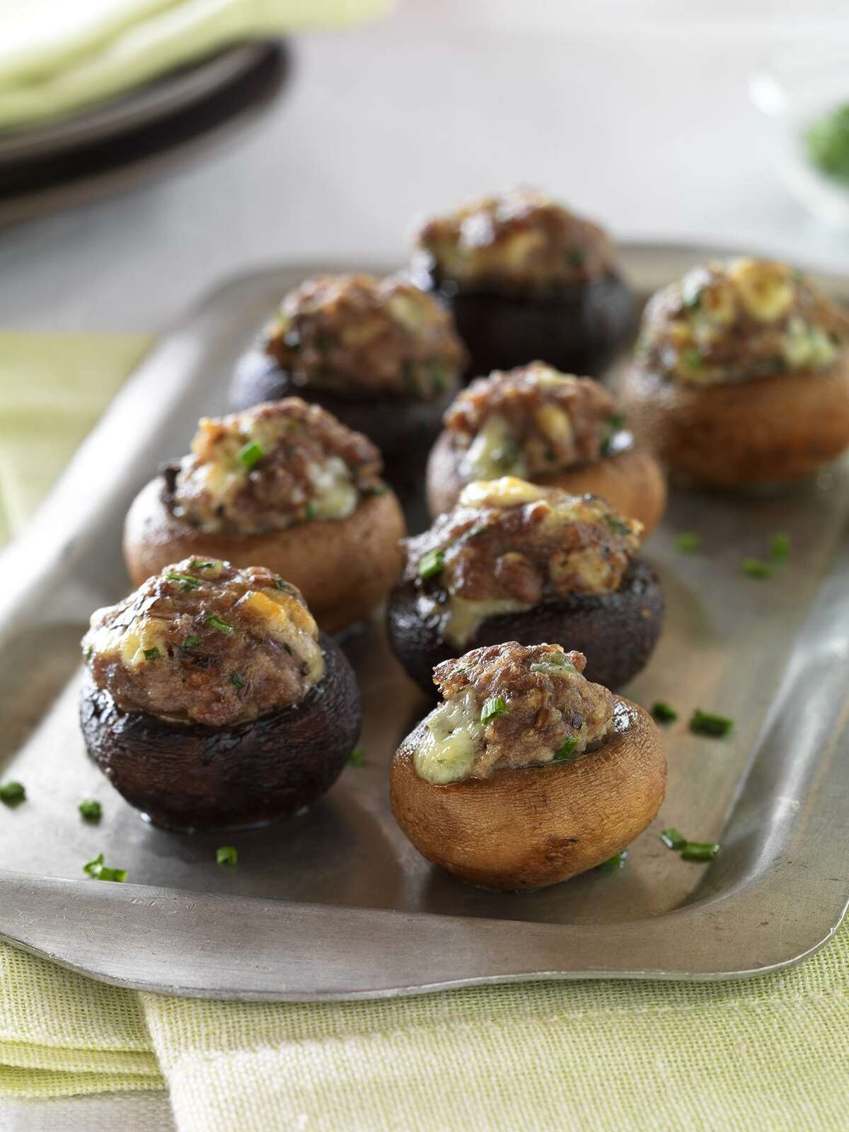 Beef and blue cheese stuffed mushrooms make a good appetizer and Super Bowl party dish
