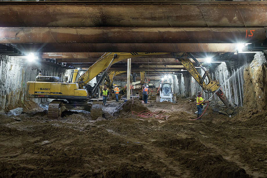 Construction of the Central Subway is ongoing beneath South of Market (SoMa), Yerba Buena, Union Square, and Chinatown. The project, a 1.7-mile extension of Muni's T Third Line, is slated for completion in 2019.