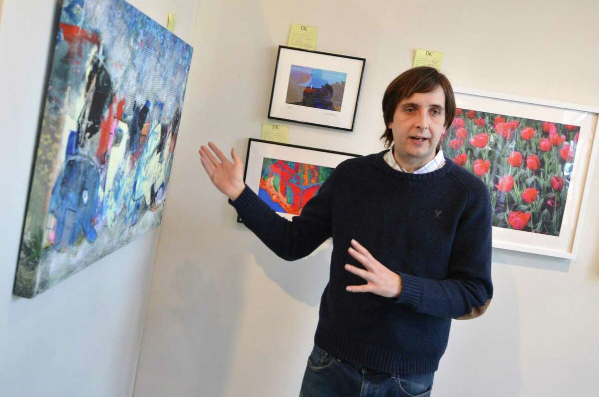 Stamford's Bruce Moran talks about the silkscreen process used in his entry in the show