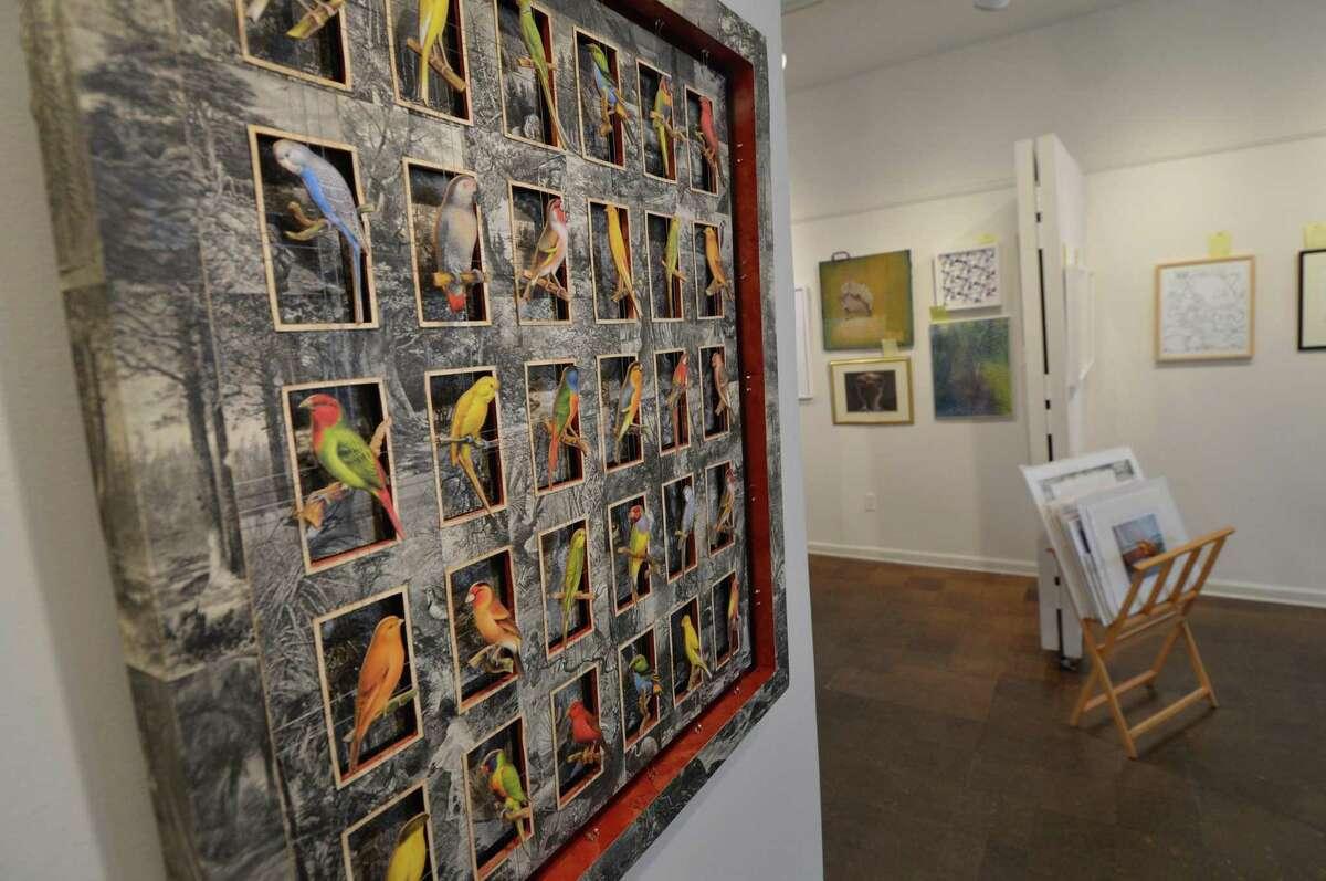 Wilton's Amy Schott's mixed media 'Bird Land' in the show
