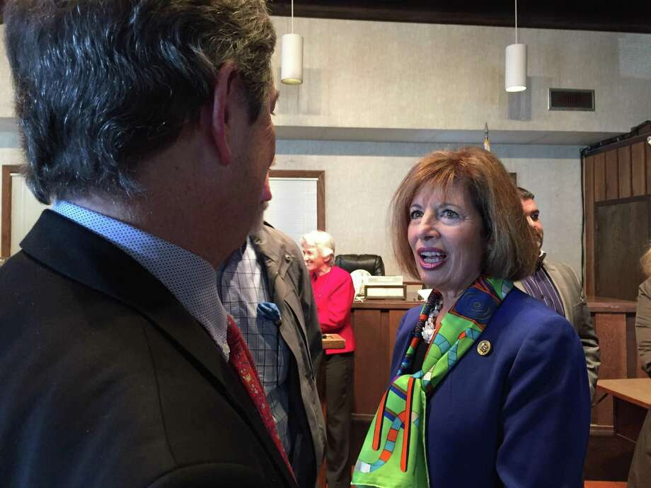 Congresswoman Jackie Speier congratulates the City of Pacifica on receiving funding to repair damages incurred from winter storms in 2016 at a news conference on Wednesday.