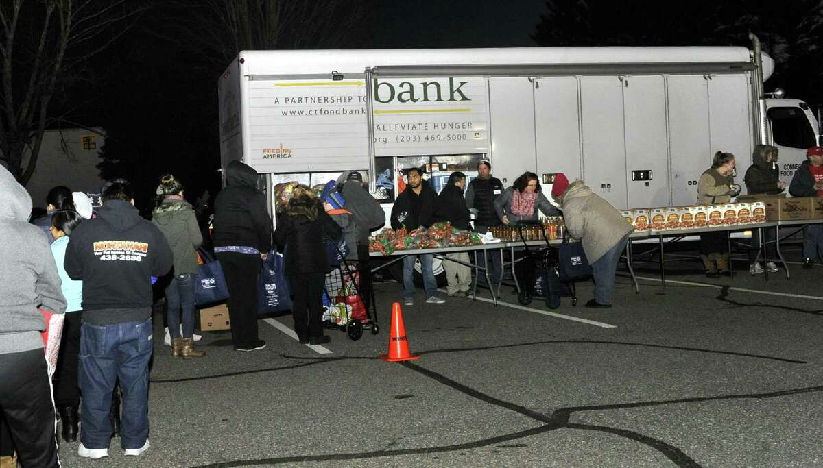 The United Way of Greater Danbury partners with the Connecticut Food Bank to bring a mobile food pantry to Bethel Wednesday, January 25, 2017.
