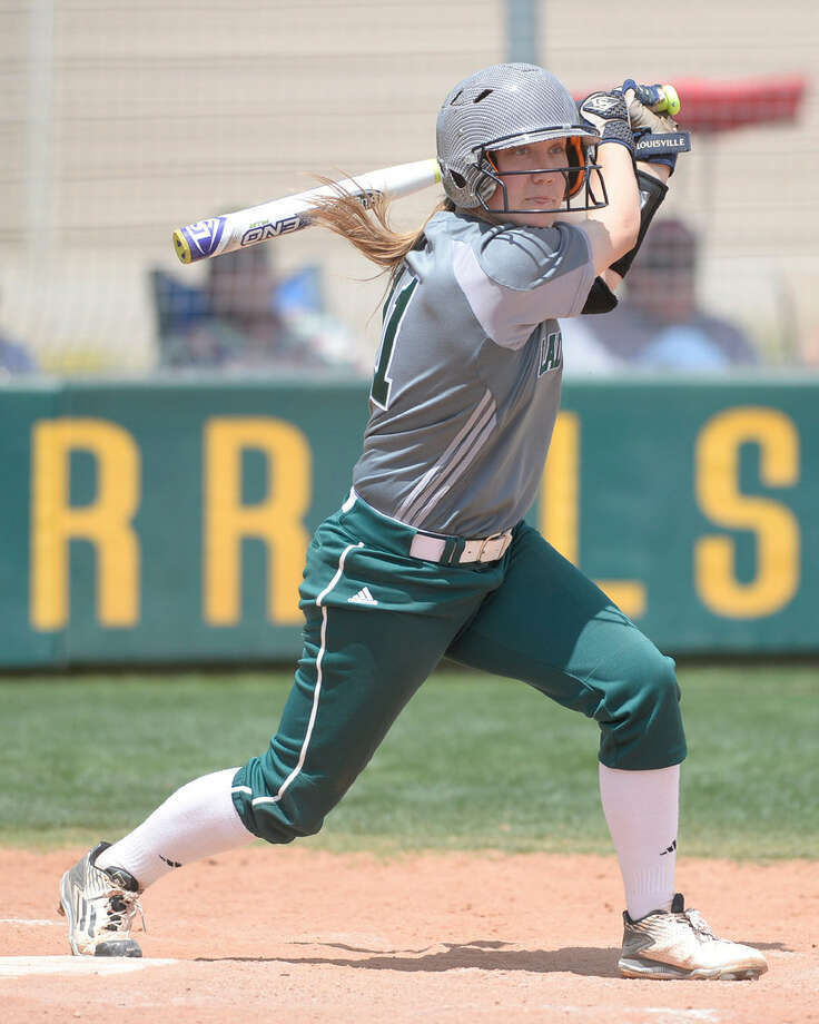 Midland College's Kassie Maddox (11) hits against Clarendon on Saturday, April 16, 2016, at Midland College. James Durbin/Reporter-Telegram