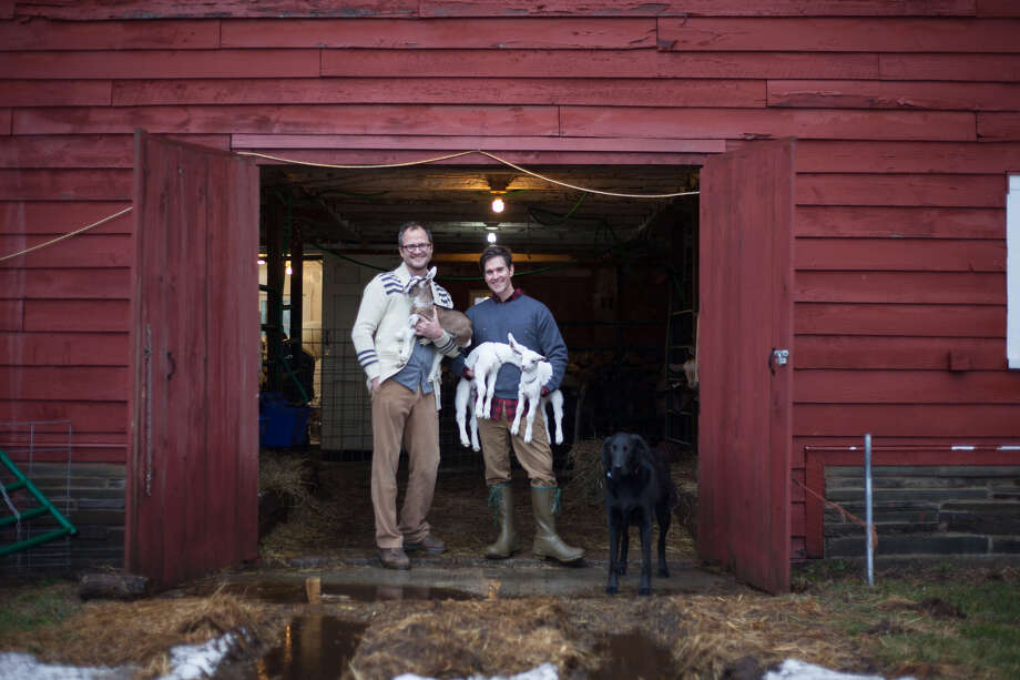 Josh Kilmer-Purcell, left, and Brent Ridge frequently host guests at their farm in Sharon Springs, Beekman 1802.