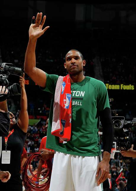 ATLANTA, GA - JANUARY 13:  Al Horford #42 of the Boston Celtics reacts to the crowd during a timeout against the Atlanta Hawks at Philips Arena on January 13, 2017 in Atlanta, Georgia.  NOTE TO USER User expressly acknowledges and agrees that, by downloading and or using this photograph, user is consenting to the terms and conditions of the Getty Images License Agreement.  (Photo by Kevin C. Cox/Getty Images) Photo: Kevin C. Cox, Staff / 2017 Getty Images