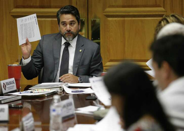 District 1 Councilman Robert Trevino speaks at an Ethics Review Board meeting at City Hall on Wednesday, Jan. 25, 2017. The board gathered to discuss proposed recommendations for reforming San Antonio's code of ethics and campaign-finance regulations. Joining in the meeting were City Manager Sheryl Sculley, District 4 Councilman Rey Saldana and District 8 Councilman Ron Nirenberg and Trevino. (Kin Man Hui/San Antonio Express-News)