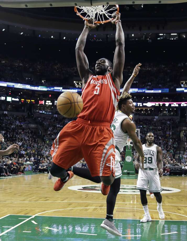 Houston Rockets forward Montrezl Harrell (5) slams a dunk against the Boston Celtics during the second half of an NBA basketball game in Boston, Wednesday, Jan. 25, 2017. The Celtics defeated the Rockets 120-109. (AP Photo/Charles Krupa) Photo: Charles Krupa/Associated Press