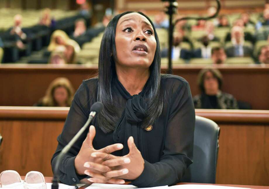 NYS Department of Civil Service Executive Deputy Commissioner Lola Brabham testifies before a legislative budget hearing on Workforce Development at the Legislative Office Building Wednesday Jan. 25, 2017 in Albany, NY.  (John Carl D'Annibale / Times Union) Photo: John Carl D'Annibale / 20039535A