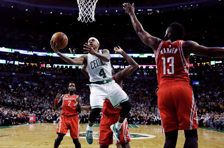 The Celtics' Isaiah Thomas, left, torched James Harden and the Rockets for 38 points. Photo: Charles Krupa, STF / Copyright 2017 The Associated Press. All rights reserved.