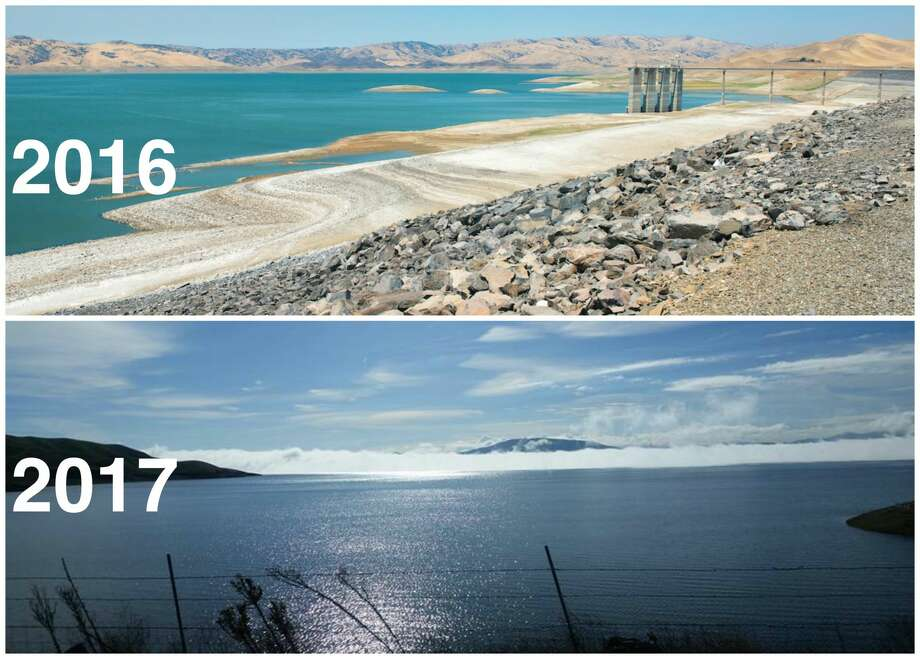 Top: San Luis Reservoir at 10 percent of capacity on July 28, 2016.Bottom: San Luis Reservoir at 79 percent of capacity on Jan. 24, 2017. Photo: Top, Frances Low/DWR. Bottom, Walt Warneke