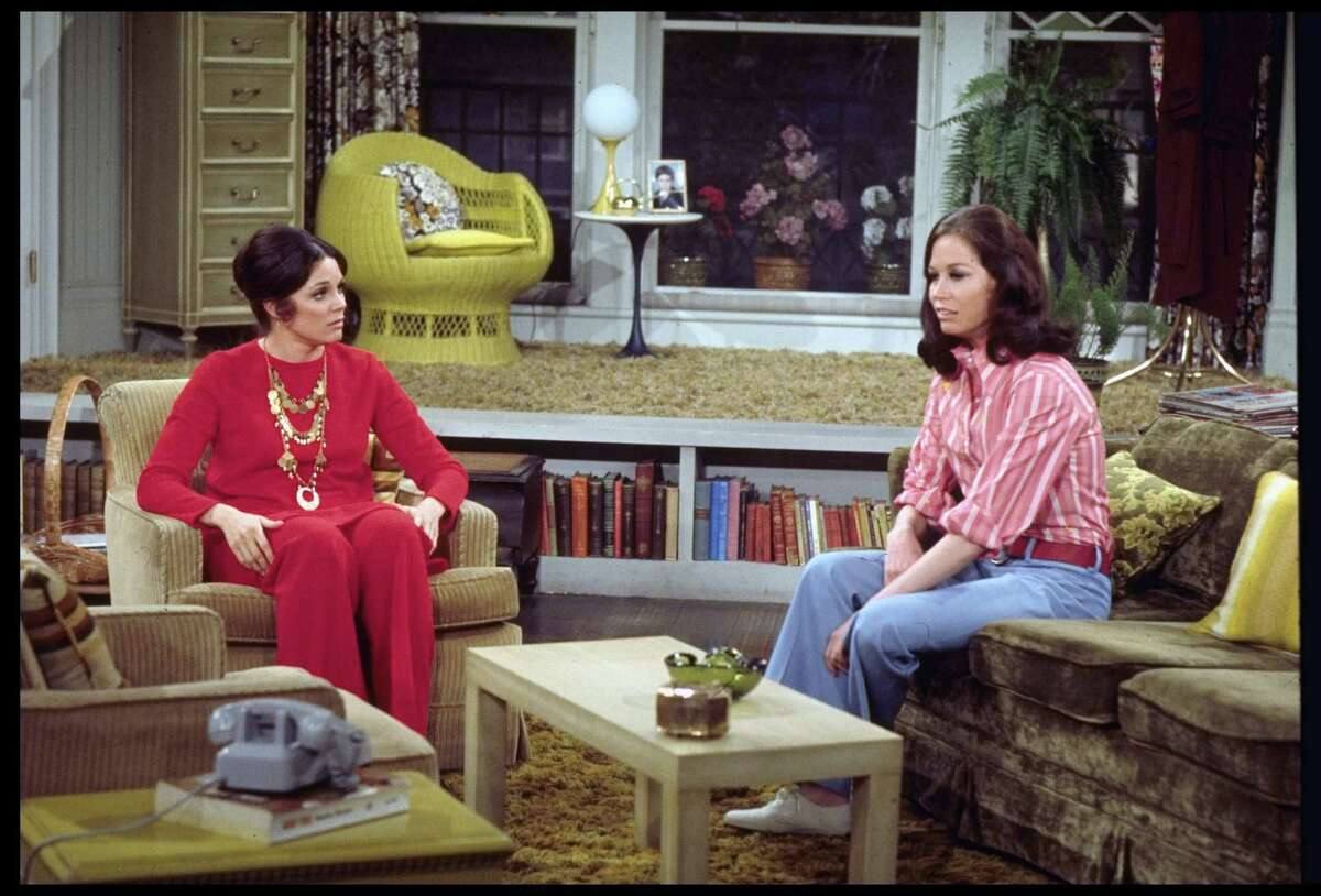 Mary Tyler Moore as Mary Richards, right, and Valerie Harper as Rhoda Morgenstern are shown on the set of the 1970's TV sit-com