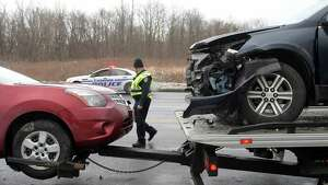 A view of vehicles that were involved in an accident on Route 7 on Thursday, Jan. 26, 2017, in Colonie, N.Y.   (Paul Buckowski / Times Union)