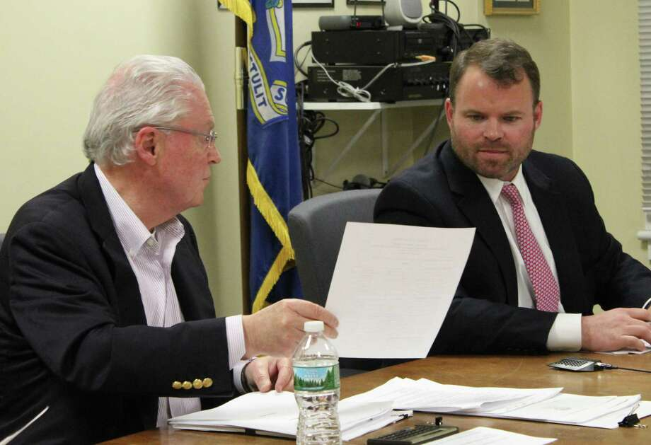 Selectman Chris Tymniak, right, introduced an amendment that basically voided a special election set for June 6. Photo: Genevieve Reilly / Hearst Connecticut Media / Fairfield Citizen