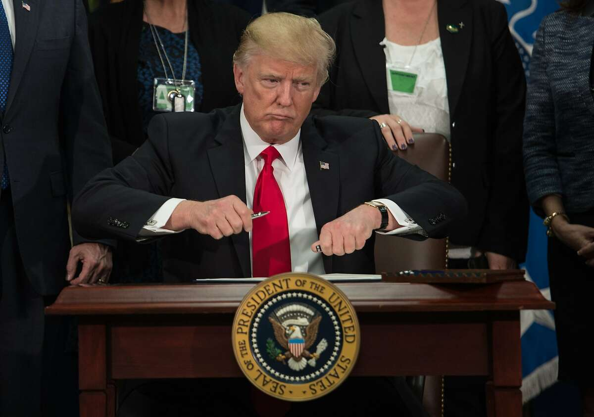 Click through this slideshow to learn about some of California's largest imports from Mexico Pictured: US President Donald Trump takes the cap off a pen to sign an executive order to start the Mexico border wall project at the Department of Homeland Security facility in Washington, DC, on January 25, 2017.
