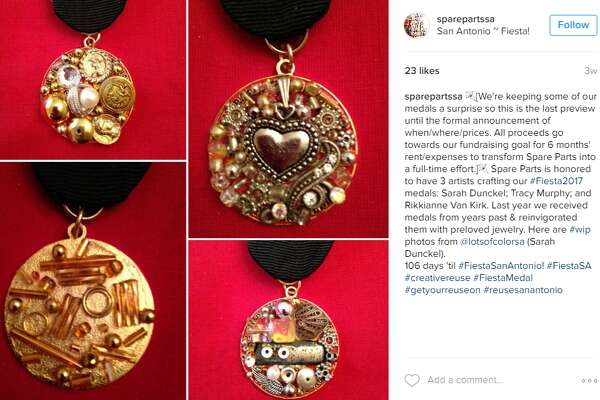 "Medals made with ""preloved jewelery"" by Spare Parts -- http://sparepartssa.org/"