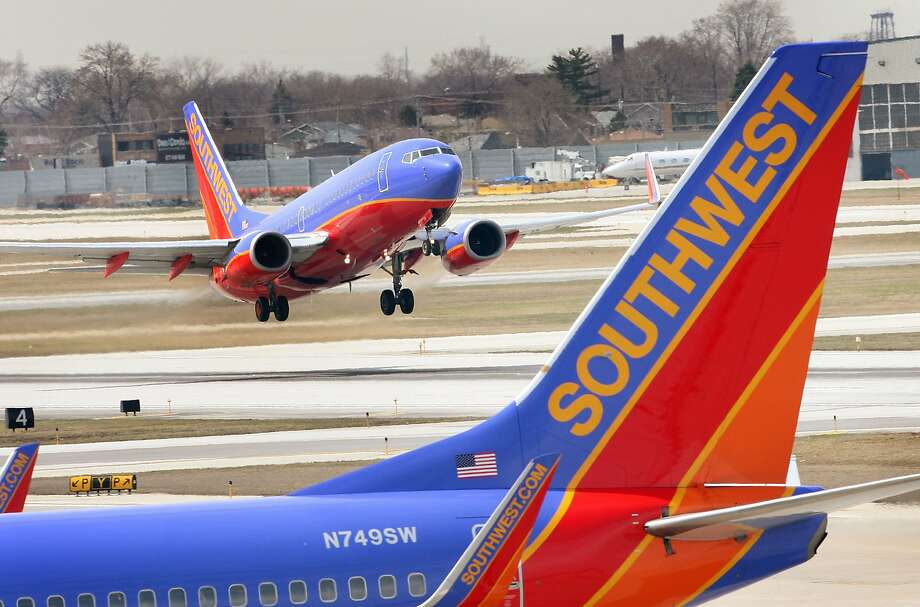 A Southwest Airlines jet takes off at Midway Airport April 3, 2008 in Chicago, Illinois. Officials from Southwest and other airlines will testify at a safety hearing on Capitol Hill today following recent cancellations of flights by Southwest, United, American and Delta airlines as jets were taken out of service for safety inspections.  Photo: Scott Olson, Getty Images