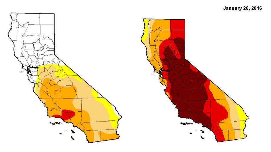 The image on the left represents the California drought as of Thursday, Jan. 26, 2017 and the image on the right represents the California drought a year ago.  Photo: Droughtmonitor