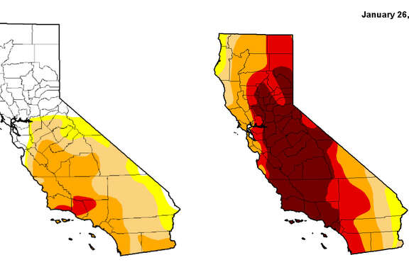The image on the left represents the California drought as of Thursday, Jan. 26, 2017 and the image on the right represents the California drought a year ago.
