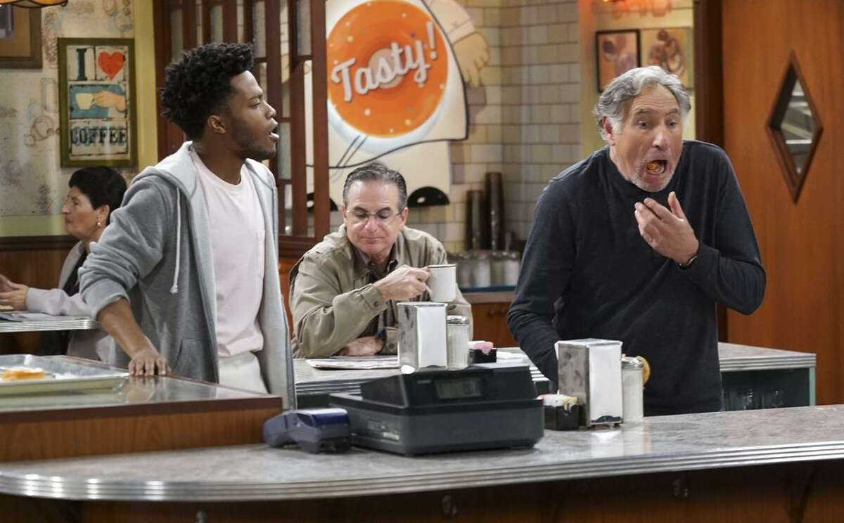"""Jermaine Fowler (left) is Franco and Judd Hirsch is Arthur in """"Superior Donuts,"""" a new CBS sitcom about a struggling Chicago doughnut shop."""