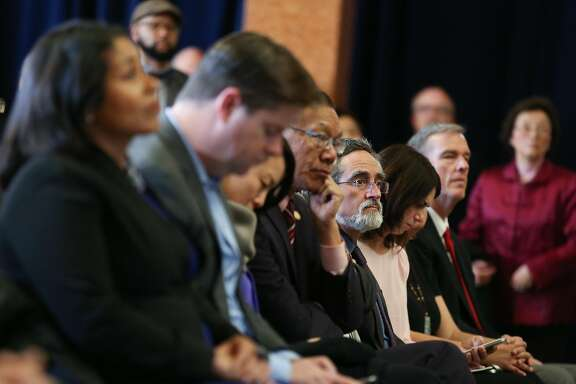 Aaron Peskin and the city's other supervisors listen as Mayor Ed Lee gives his annual state of the city address on Thursday, January 26, 2017 in San Francisco, Calif.