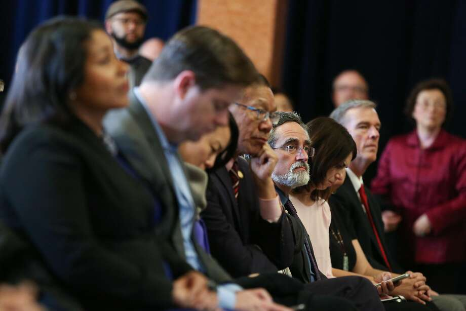 Aaron Peskin and the city's other supervisors listen as Mayor Ed Lee gives his annual state of the city address on Thursday, January 26, 2017 in San Francisco, Calif. Photo: Amy Osborne, Special To The Chronicle