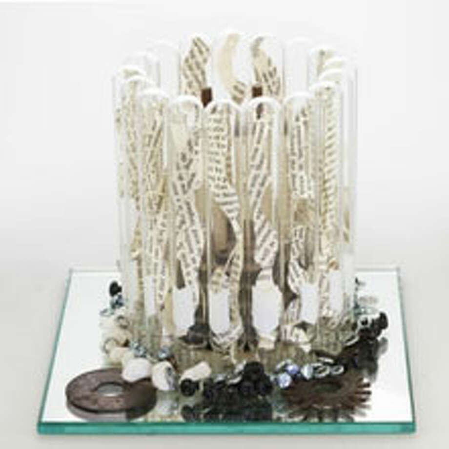 The Large Door (2016), test tubes, book pages, eye hooks, marble stones, hardware, by Sarah Walko (Thomas Wilson photo)