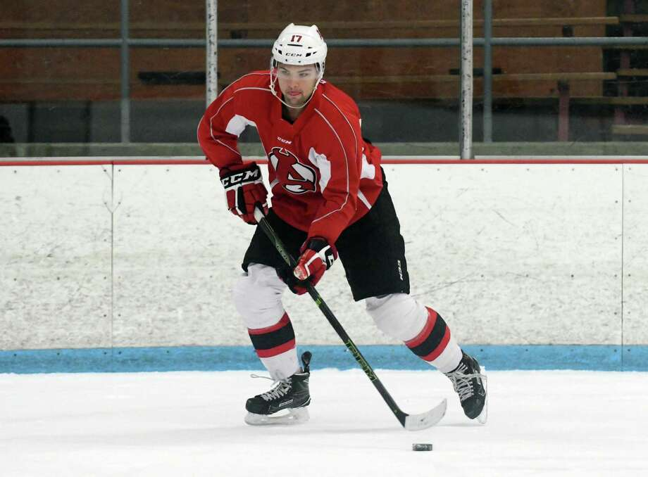 John Quenneville takes part in Albany Devils practice at Knickerbacker Ice Arena on Monday, Oct. 3, 2016, in Troy, N.Y.   (Paul Buckowski / Times Union)     ORG XMIT: MER2017012615002660 Photo: PAUL BUCKOWSKI / 40038223A