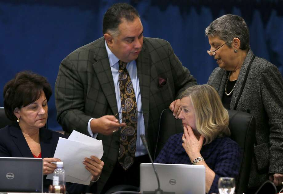 UC Board of Regents Chairwoman Monica Lozano (left), Regent John Perez, Chief of Staff Anne Shaw and President Janet Napolitano meet in January. Photo: Paul Chinn, The Chronicle