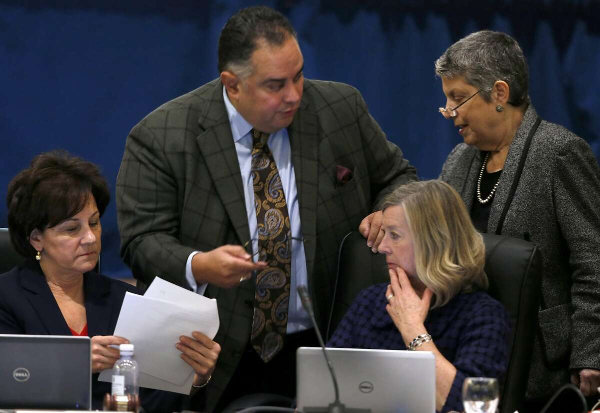 UC Board of Regents Chairwoman Monica Lozano, regent John Perez, Chief of Staff Anne Shaw and President Janet Napolitano gather for a discussion before a plan to raise student tuition fees was approved by the board during a meeting at the UCSF Mission Bay campus in San Francisco, Calif. on Thursday, Jan. 26, 2017.