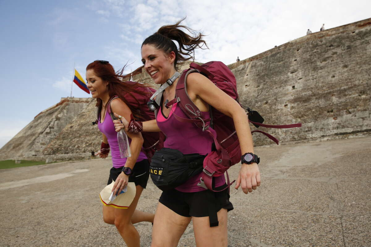 """Erin (left) and Joslyn (right) must search the catacombs in Cartagena, Colombia for the next clue then choose between 'Tickets' and 'Tejo' on an """"The Amazing Race"""" episode in 2015."""
