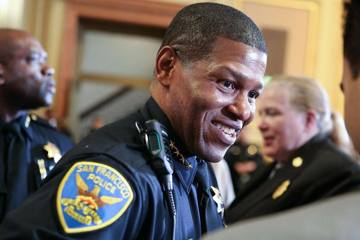New police chief William Scott speaks with audience members after Mayor Ed Lee's annual state of the city address on Thursday, January 26, 2017 in San Francisco, Calif.