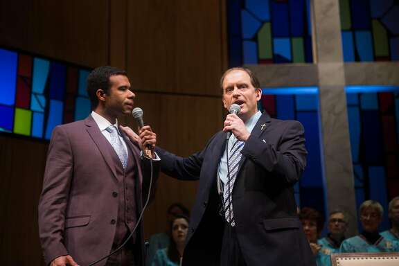 "Associate Pastor Joshua (Lance Gardner, left) and Pastor Paul (Anthony Fusco) debate their differing interpretations of scripture in San Francisco Playhouse's ""The Christians."""