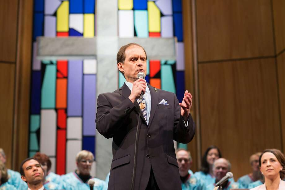 "Pastor Paul (Anthony Fusco) shares a revelation with his congregation in San Francisco Playhouse's ""The Christians."" Photo: Jessica Palopoli, San Francisco Playhouse"