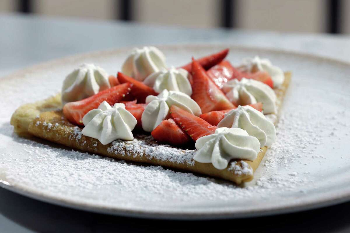 The Baies Rouges, crepe with homemade red berry preserves and vanilla Chantilly at Brasserie du Parc at One Park Place in downtown Houston.