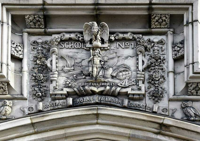 Ornamentation above the entrance to Redburn Development's new School One Lofts project Thursday Jan. 26, 2017, in Troy, NY. (John Carl D'Annibale / Times Union)