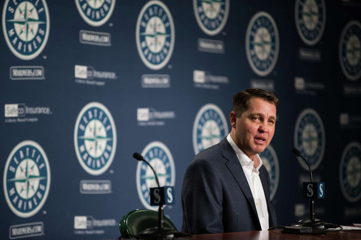 Mariners Manager of Player Development Andy McKay speaks to press at the annual pre-spring training press conference at Safeco Field on Thursday, Jan. 26, 2017.