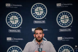 Mariners pitcher James Paxton speaks to press at the annual pre-spring training press conference at Safeco Field on Thursday, Jan. 26, 2017.