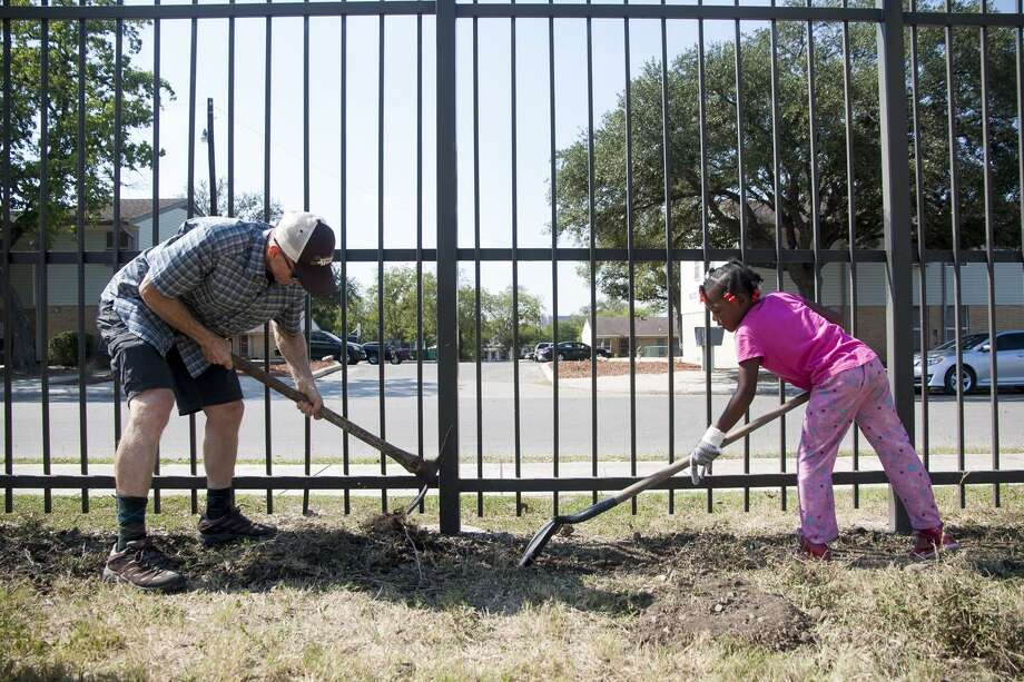 (From left) English Professor David Pryor, of the University of the Incarnate Word, works alongside Raegan Smith, 6, Friday October 24, 2014 during a youth gardening project at Ella Austin Community Center as part of their after school program. Photo: Julysa Sosa, Freelancer / For The Express-News / Julysa Sosa For the San Antonio Express-News