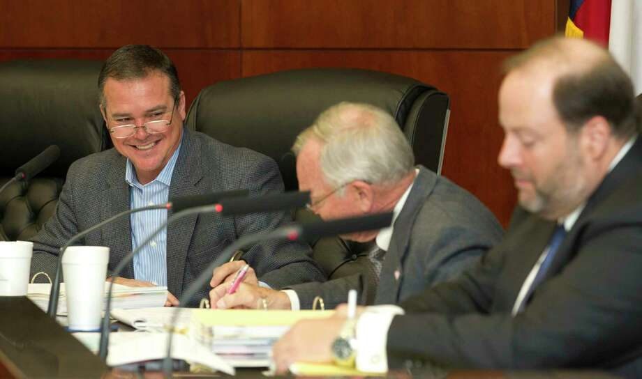 Conroe City Councilman Duane Ham shares a laugh during a city council meeting Wednesday, Jan. 26, 2017, in Conroe. The council approved a budget up to $50,000 to send Ham to Austin to lobby for the city regarding water related legislation. Photo: Jason Fochtman, Staff Photographer / Houston Chronicle