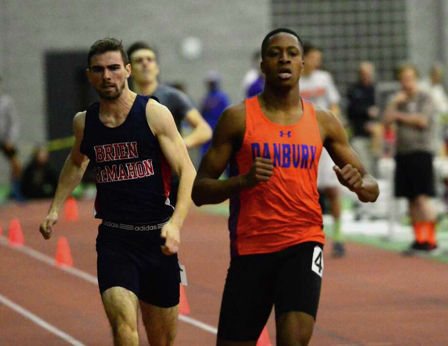Danb ury's Terrell Cunningham set the school record in the 500 meters with a time of 1:04.82 at the AT&T Coaches' Hall of Fame Invitational on Dec. 17   in New York City. Photo: Christian Abraham / Hearst Connecticut Media / Connecticut Post
